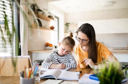 Frau beim Hausunterricht